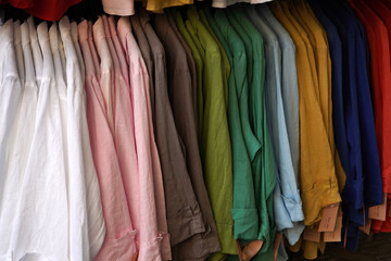 Linen shirt on display for sale many colors