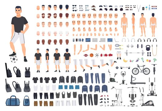 Football or soccer player creation kit. Bundle of man's body parts, poses, sports clothes, exercise machines isolated on white background. Front, side and back views. Cartoon vector illustration.