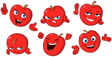 Apple cartoon set