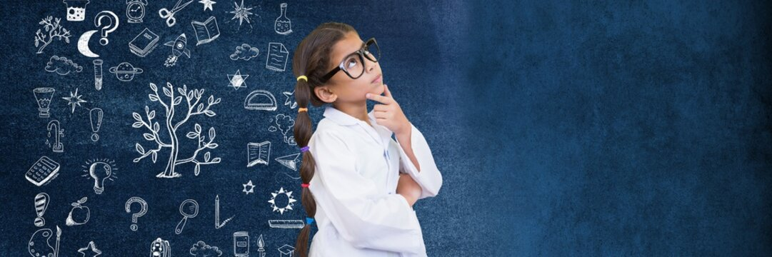 School girl scientist and Education drawing on blackboard for