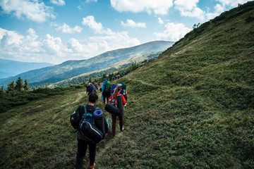 Group of hikers walking on a mountain. Carpathains, Ukraine