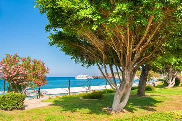 Beautiful sea promenade in Kemer, Turkey.