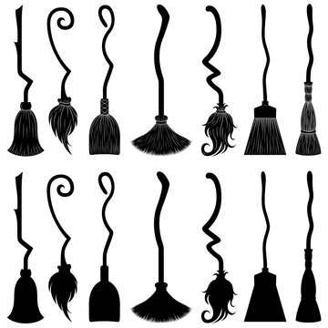Set of different witch brooms isolated on white