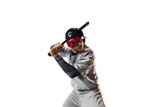 Isolated Baseball player bat the ball on white background