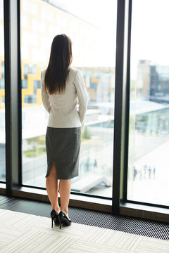 Back view full length portrait of elegant businesswoman standing by window in office and looking outside, copy space