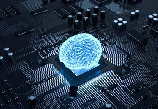 3D Illustration Gehirn Computer