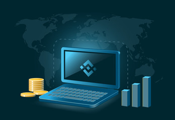 Binance Cryptocurrency Coin Global Laptop Trade Background