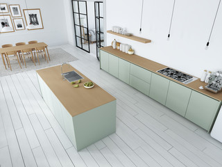 top view of modern nordic kitchen in loft apartment. 3D rendering