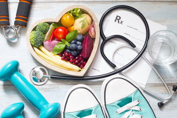 Healthy lifestyle concept with diet  fitness and medicine
