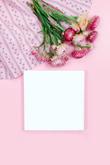 pink yellow leaves top view card copy space flowers autumn frame background Valentine branches white