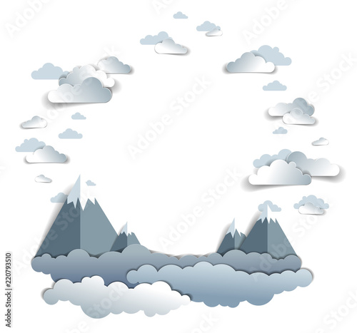 Scenic Landscape Of Mountain Peaks Range, Cloudy Sky, Frame Or Border With  Copy Space