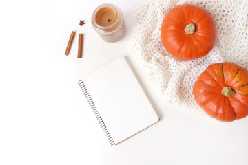 Autumn cozy composition. Mockup scene with blank notebook. Pumpkins, candle, cinnamon sticks and knitted plaid on white table background. Thanksgiving, fall, halloween concept. Flat lay, top view.