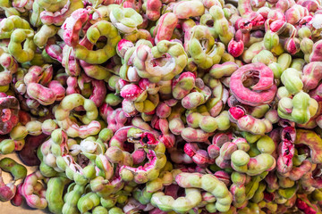 Close up of ripe Pithecellobium dulce beans (Manila Tamarind) in Thai market