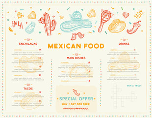 Mexican Food Restaurant menu, template design with sketch icons of Chili pepper, sombrero, tacos, nacho, burrito.Chalkboard Food flyer for promotion, site banner