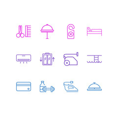 Vector illustration of 12 hotel icons line style. Editable set of air conditioner, do not disturb tag, credit card and other icon elements.