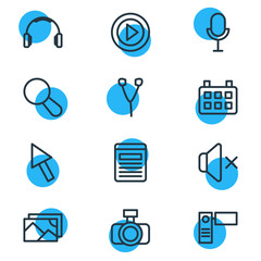 Vector illustration of 12 media icons line style. Editable set of calendar, video, headphone and other icon elements.