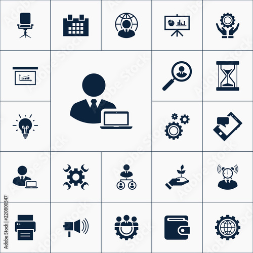 Vector Set Of Business Icons Simple Management Elements