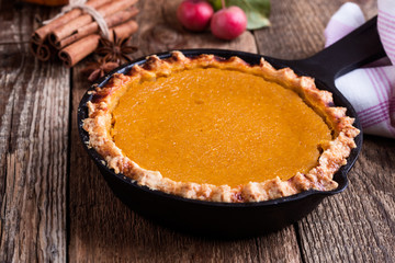 Pumpkin pie in skillet
