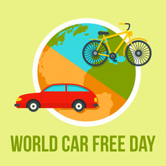 International car free day background. Flat illustration of international car free day vector background for web design