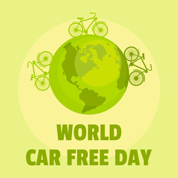 Earth car free day background. Flat illustration of earth car free day vector background for web design