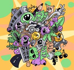 Abstracte moderne doodle kunst - illustratie met random illustraties