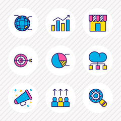 Vector illustration of 9 advertising icons colored line. Editable set of store, structure, promotion and other icon elements.