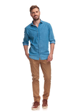 full body picture  of casual man posing