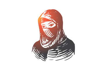 Woman, hijab, girl, islam, young concept. Hand drawn isolated vector.