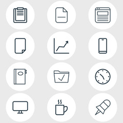 Vector illustration of 12 workplace icons line style. Editable set of browser tab, empty dossier, remove and other icon elements.