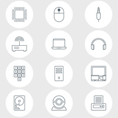 Vector illustration of 12 laptop icons line style. Editable set of printout, internet discussing, plug and other icon elements.