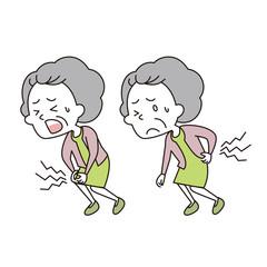腰と膝を痛めた老いた女性
