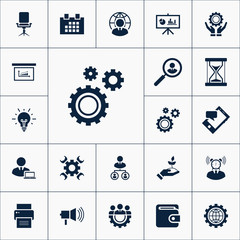 Vector set of business icons. Simple management elements illustration. Marketing symbols design from office collection. Can be used in web and mobile.