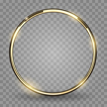 Gold ring. Golden metal circle, shiny metallica rounded frame isolated on transparent background