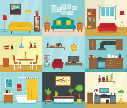 Interior banner set. Flat illustration of interior vector banner set for web design