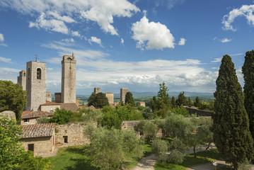 Fototapete - Idyllic landscape of Medieval Village San Gimignano, Tuscany, Italy, Europe