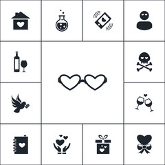 Vector set of love icons. Simple romance elements illustration. Romantic symbols design from holiday collection. Can be used in web and mobile.