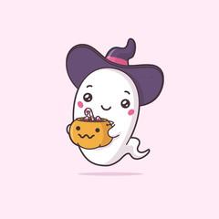 Cute kawaii ghost wearing witch hat holding candy lantern bucket vector cartoon illustration
