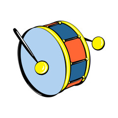 Drums toy icon. Cartoon of drums toy vector icon for web design isolated on white background