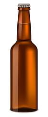 Bottle of beer mockup. Realistic illustration of bottle of beer vector mockup for web design isolated on white background