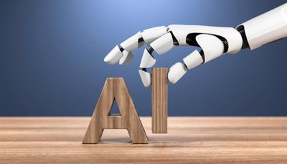 3D Illustration Roboterhand AI