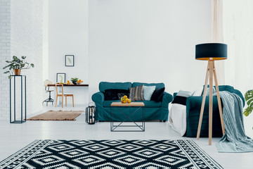 Patterned carpet and plant in white apartment interior with lamp and marble green sofa. Real photo