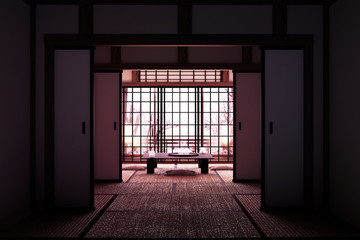 Original Design - Room interior with window view Sakura tree,Japanese style. 3D rendering