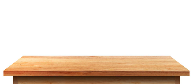 Empty wooden tabletop isolated on white background. For your product placement or montage with focus to the table top in the foreground. Empty pine wooden shelf. shelves