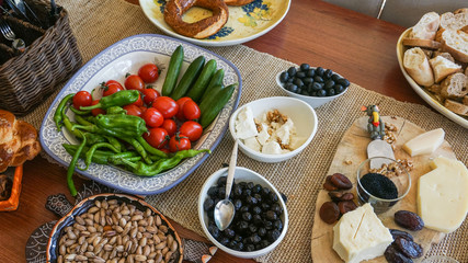 Turkish breakfast on wooden table
