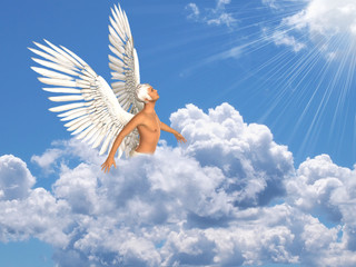 Angel in sky and clouds, looking at sunlight. Composite of photo and 3D rendering.