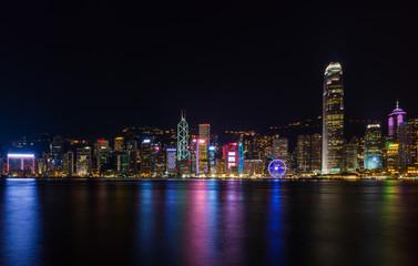 Fotomurales - Victoria Harbour in Hong kong,Tsim Sha Tsui, Hong Kong,Landmark city view in Hongkong.