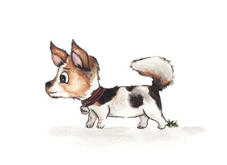Cute puppy walking in front of white background, watercolor illustration.