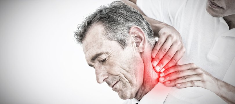 Composite image of male chiropractor massaging patients neck
