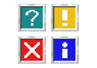 Question mark, warning, error and info icon. A set of standard icons imitating pixels in bright colors. Flat vector.