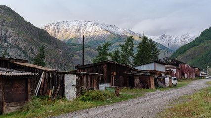 Snowy mountain peak behind the old village.